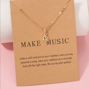 New Music Note Charm Necklace in Color Gold